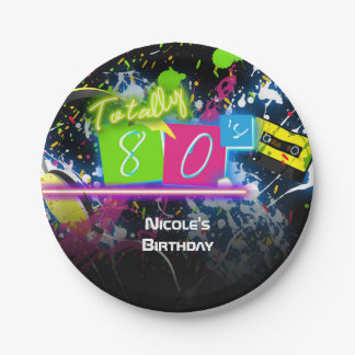80's Retro Fun Birthday Party Neon Glow Splatter 7 Inch Paper Plate