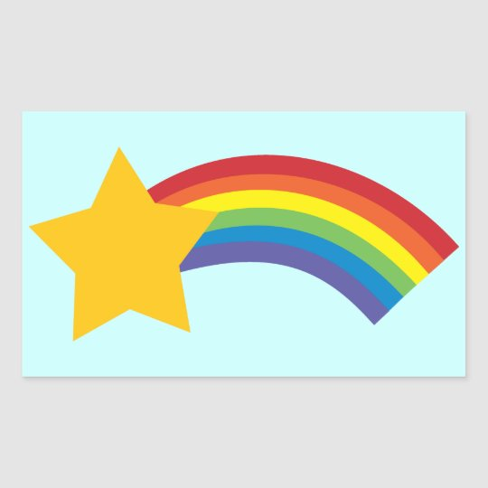 80's Retro Pop Rainbow Shooting Star Stickers