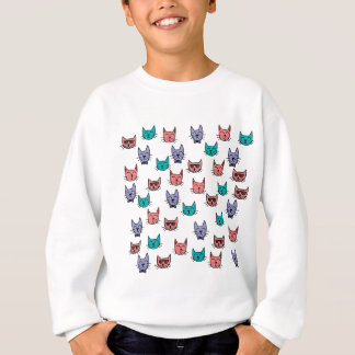 80s Sketch Cat Pattern - Turquoise Pink Purple Sweatshirt