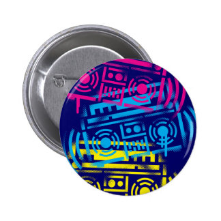 80's Stenciled Boomboxes 2 Inch Round Button