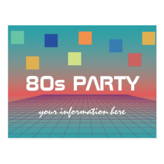 80s theme party or reunion postcard