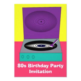 80s themed party invitation 80s retro turntable