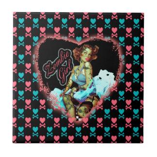 80'S Zombie Girl Ceramic Tile