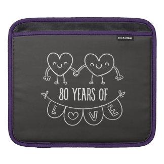 80th Anniversary Gift Chalk Hearts iPad Sleeve
