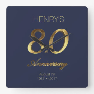 80th Birthday Anniversary Gold and Blue Elegant Square Wall Clock