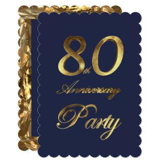 80th Birthday Anniversary Gold Elegant Card