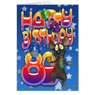 80th Birthday Card cute with little mouse