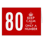 80th Birthday card   Keep Calm it's only a number