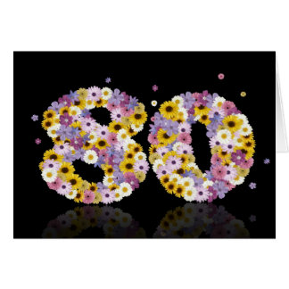 80th birthday card with flowery letters
