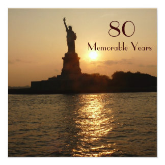 80th Birthday Celebration/Statue of Liberty Sunset Card