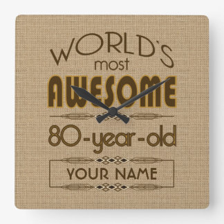 80th Birthday Celebration World Best Fabulous Square Wall Clock