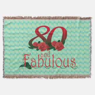 80th birthday diva red rose 80 flower blanket