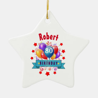 80th Birthday Festive Colorful Balloons C01HZ Ceramic Ornament