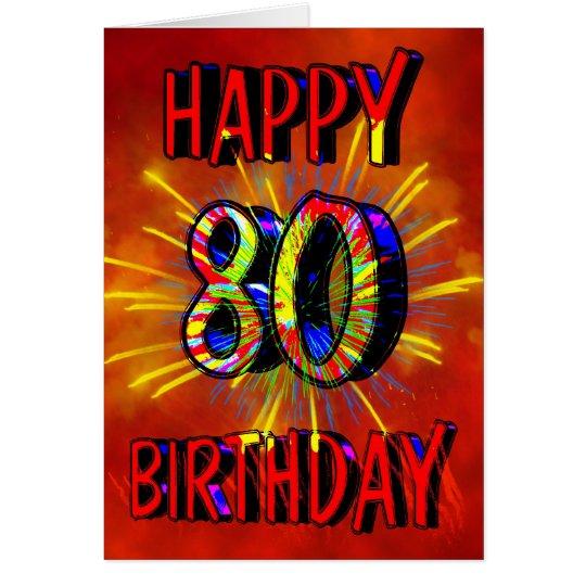 80th Birthday Fireworks Card
