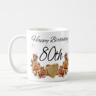 80th Birthday Gift Mug, With Copper Roses Coffee Mug
