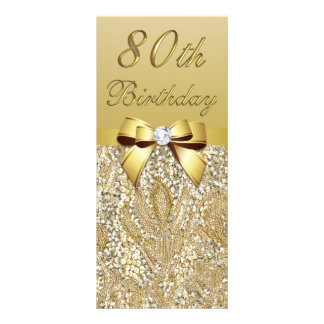 80th Birthday Gold Faux Sequins Bow Rack Card