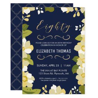 80th Birthday Invitation, Customize Floral w/ Gold Card