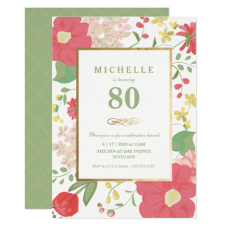 80th Birthday Invitation - Gold, Elegant Floral