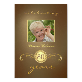 80th Birthday Invitations - Antique Gold Monogram