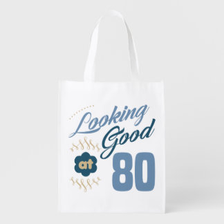 80th birthday Looking Good Reusable Grocery Bag