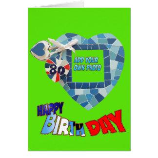 80th Birthday Mosaic Art Cust. Greeting Card