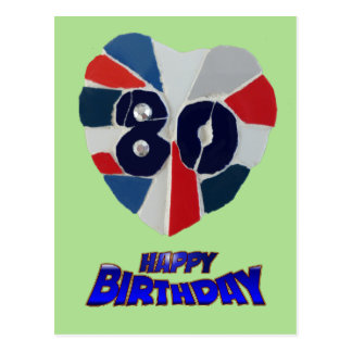 80th Birthday Mosaic Art Postcard