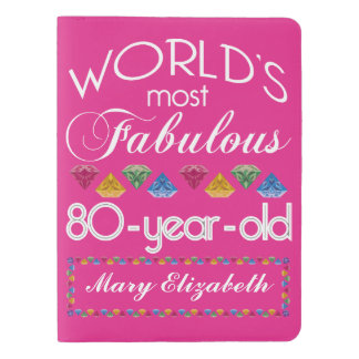 80th Birthday Most Fabulous Colorful Gems Pink Extra Large Moleskine Notebook