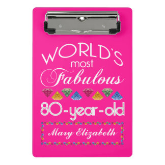 80th Birthday Most Fabulous Colorful Gems Pink Mini Clipboard