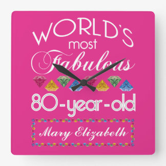 80th Birthday Most Fabulous Colorful Gems Pink Square Wall Clock