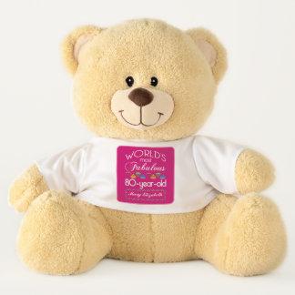 80th Birthday Most Fabulous Colorful Gems Pink Teddy Bear
