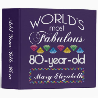 80th Birthday Most Fabulous Colorful Gems Purple Binders