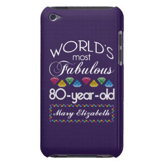 80th Birthday Most Fabulous Colorful Gems Purple Barely There iPod Covers