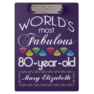 80th Birthday Most Fabulous Colorful Gems Purple Clipboard
