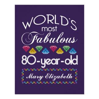 80th Birthday Most Fabulous Colorful Gems Purple Custom Letterhead