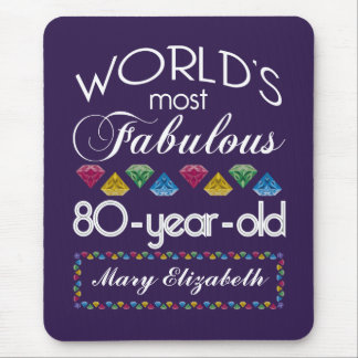 80th Birthday Most Fabulous Colorful Gems Purple Mouse Pad