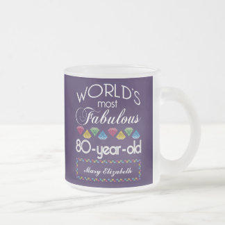 80th Birthday Most Fabulous Colorful Gems Purple Mugs