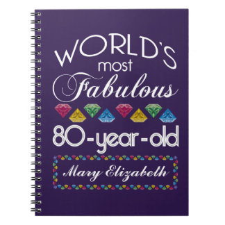80th Birthday Most Fabulous Colorful Gems Purple Notebook