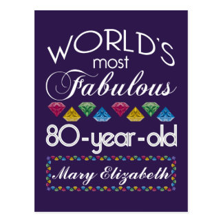 80th Birthday Most Fabulous Colorful Gems Purple Post Card