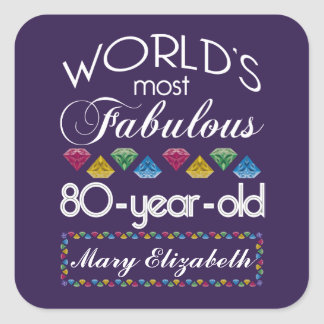 80th Birthday Most Fabulous Colorful Gems Purple Square Sticker