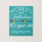 80th Birthday Most Fabulous Colourful Gem Jigsaw Puzzle