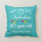 80th Birthday Most Fabulous Colourful Gem Throw Pillow