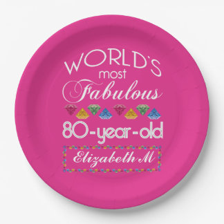 80th Birthday Most Fabulous Colourful Gems Pink 9 Inch Paper Plate
