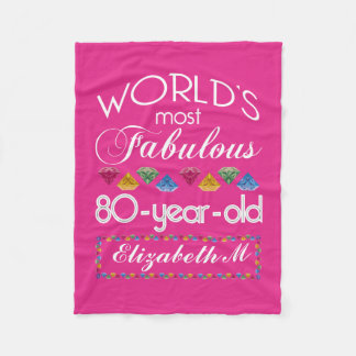 80th Birthday Most Fabulous Colourful Gems Pink Fleece Blanket