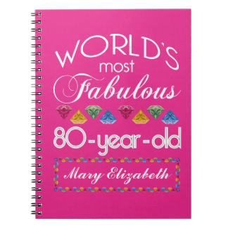 80th Birthday Most Fabulous Colourful Gems Pink Notebook