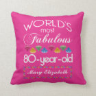 80th Birthday Most Fabulous Colourful Gems Pink Throw Pillow