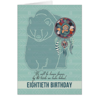 80th Birthday Native American Bear Dreamcatcher Card