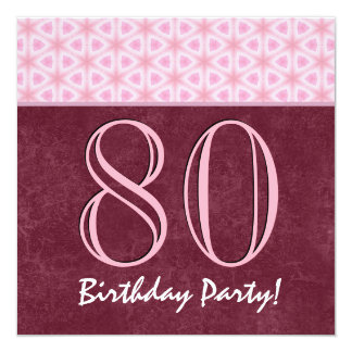 """80th Birthday or Any Year Red and Pink V02 5.25"""" Square Invitation Card"""