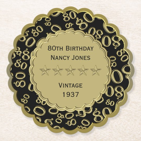 80th Birthday Party Black and Gold Theme Paper Coaster