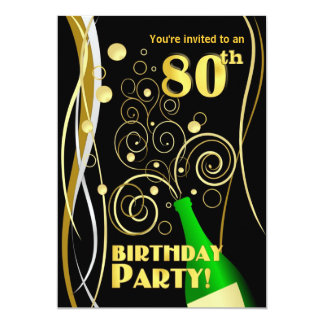 80th Birthday Party - Fun and Festive Champagne Card
