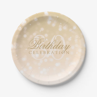 80th Birthday Party Gold Bokeh Sparkle Lights Paper Plate